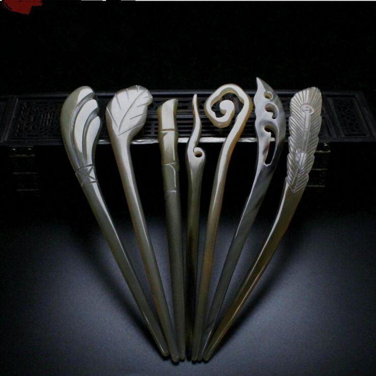 Высокое качество 18 см 1 шт. ручной як рог аксессуар головной убор китайские волосы палочки Шпилька традиции китайской шпильки