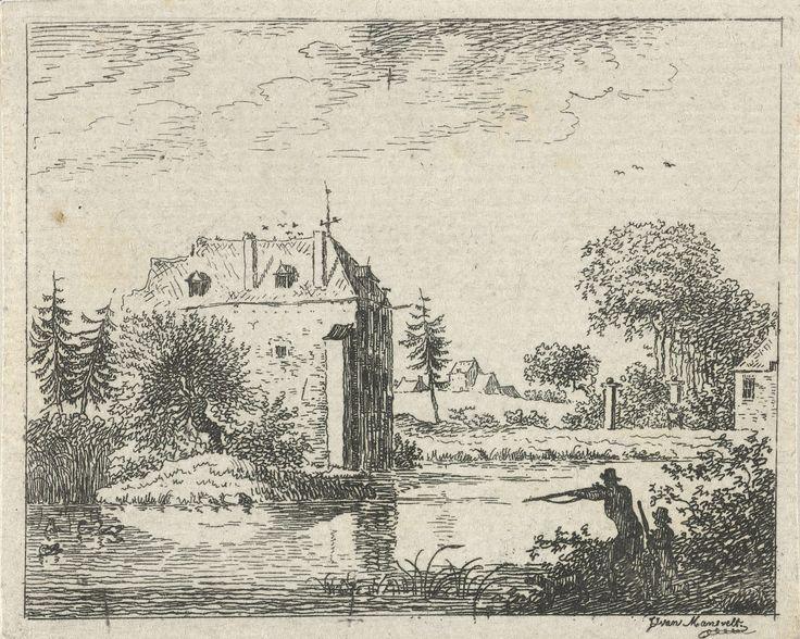 Jan Izaak van Mansvelt | Versterkt huis aan de waterkant, Jan Izaak van Mansvelt, Hendrik Meijer, 1771 - 1802 | Een versterkt huis aan de kant van een meer. Rechts op de voorgrond een staande en een geknielde jager die op eenden schieten.