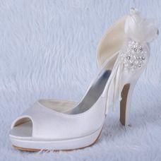 [CA$ 75.51] Women's Satin Cone Heel Peep Toe Platform Sandals With Beading Rhinestone (047024172)