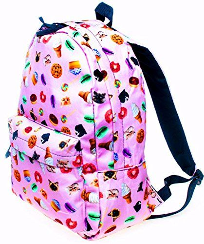 Pink Donuts Cookies Cats Cupcakes Ice Cream Backpack Book Bag School