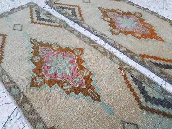 Muted Soft Color Pair of Small Turkish Rug Floor