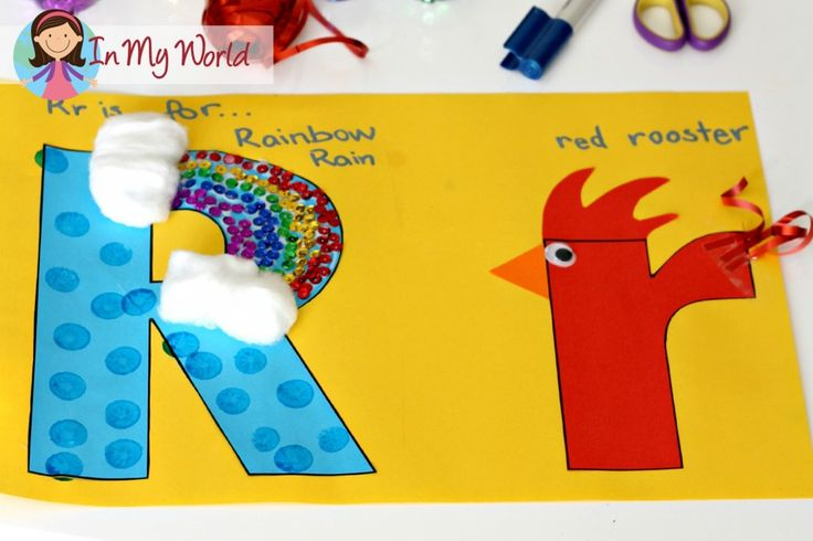 Super cute letter 4 craft (rainbow, rain, rooster) perfect for toddler, preschool, kindergarten