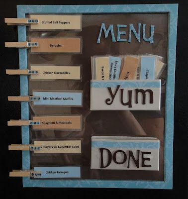 DIY Magnetic Weekly Meal Planner. I like this menu idea so much better than the chalkboard menu idea!  Add the ingredients on the back and you are all set!