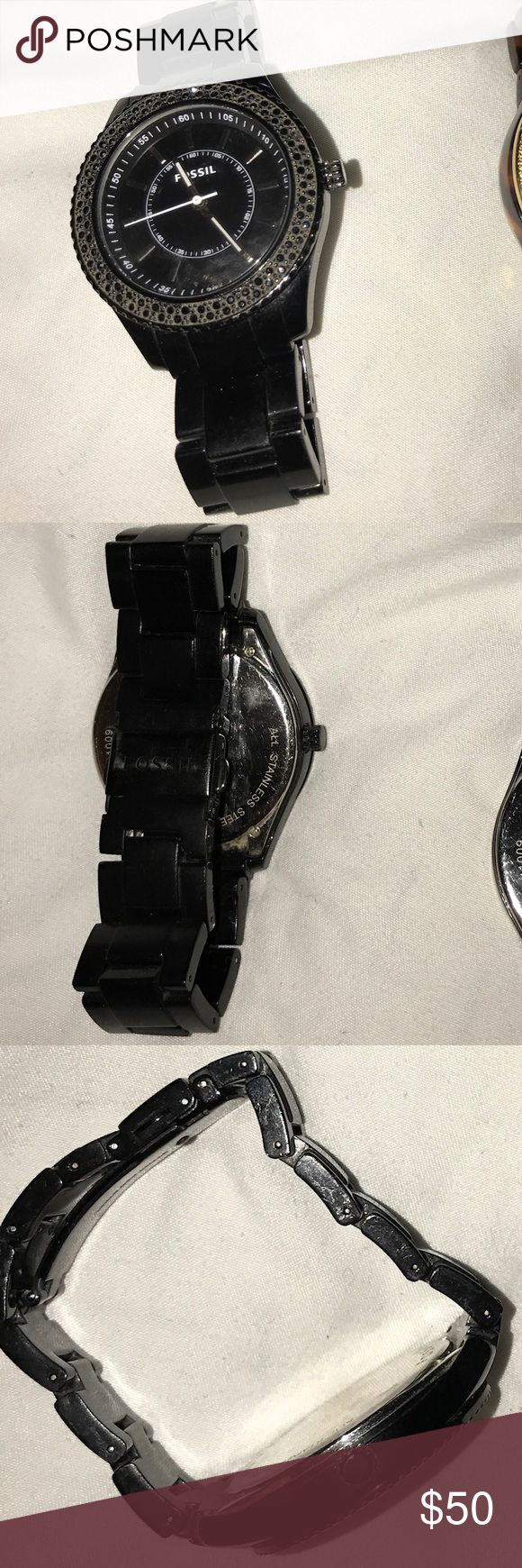Fossil Watch Black Stones Used, loved, and treated well. Looks great with everything! Needs new battery. If extra links or band wanted Fossil replaces see attached photos. Price reflects. Fossil Accessories Watches