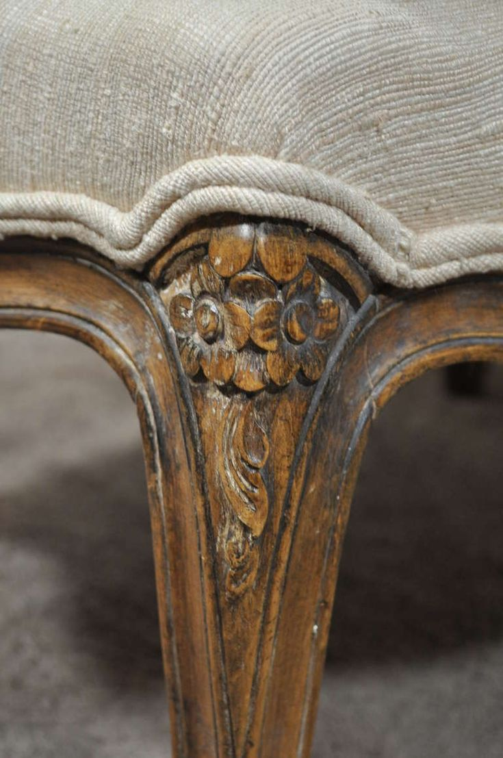 Vintage French Louis XV Style Hand Carved Walnut Bergere Arm Chair & Ottoman image 8