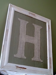 DIY Burlap Letter- would be EASY to make!  Just staple burlap over frame wood, tape the letter, paint, and peel tape off.