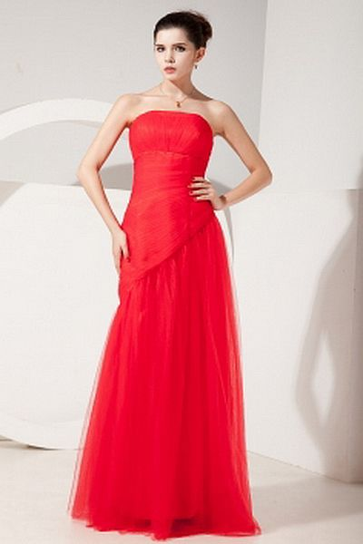 A-Line Tulle Elegant Evening Gown wr1551 - http://www.weddingrobe.co.uk/a-line-tulle-elegant-evening-gown-wr1551.html - NECKLINE: Strapless. FABRIC: Tulle. SLEEVE: Sleeveless. COLOR: Red. SILHOUETTE: A-Line. - 156.59