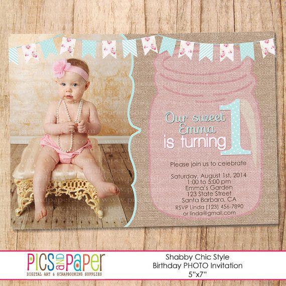 Shabby Chic invito con Mason Jar e fotografare di bambino - primo compleanno o qualsiasi compleanno - personalizzare - stampa