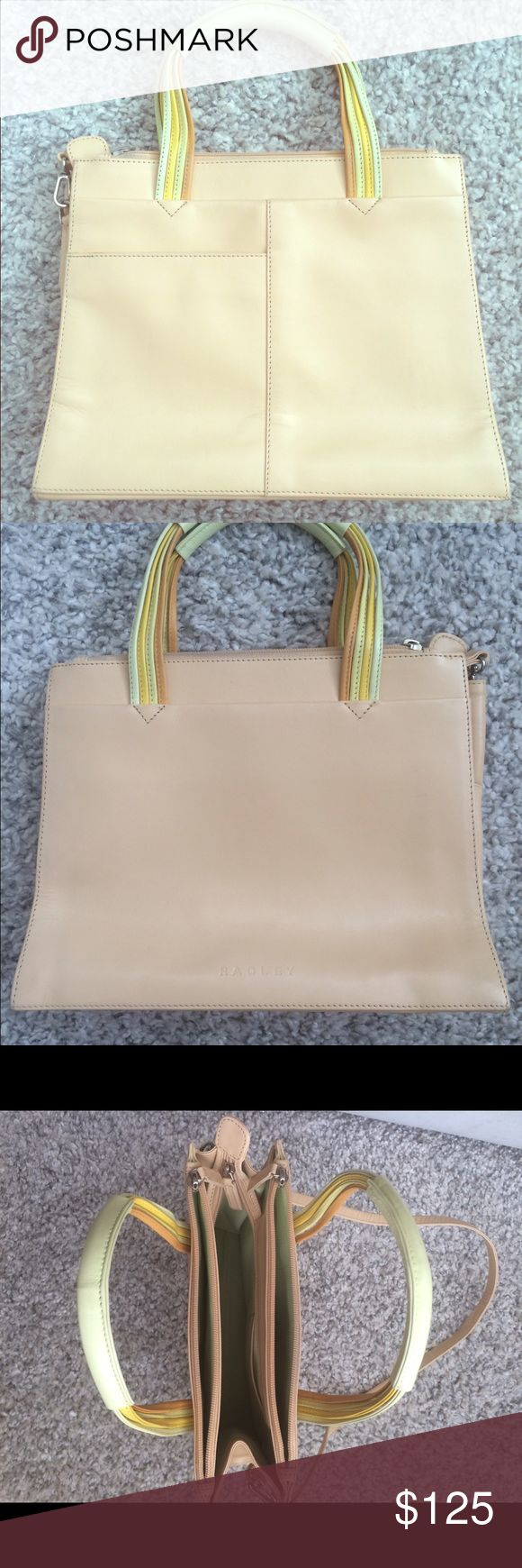 "Radley Clerkenwell handbag Own your own famous English designed handbag. Cream Radley handbag with multicolor orange, yellow and green handle. Can be used as a hand held bag, or there is a long strap for cross body/shoulder use. Bag measures approx 9"" high by 11"" wide. Bag has been used, but is on great condition. There is one small scratch (photo included). Radley Bags Shoulder Bags"