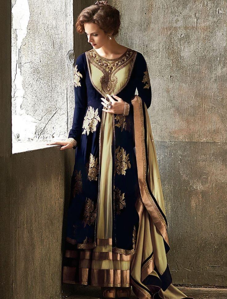 Royal Blue and Gold Micro Velvet Anarkali