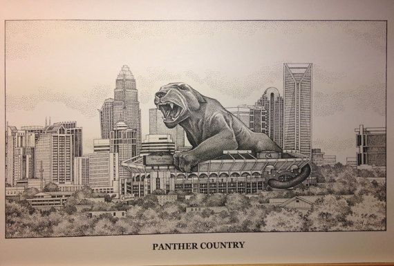 Panther Country 11x17 Print  Black & White (Pen and Ink) print drawn by artist, Michael James using an art technique called Pointillism or Stippling.  Also available hand colored with Prismacolor colored pencils.  $26 - $ 42