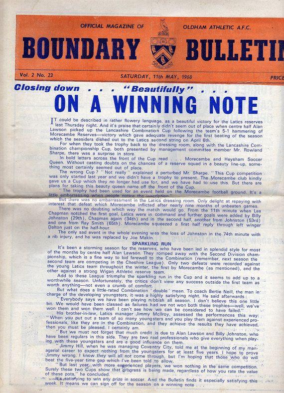 Vintage Football (soccer) Programme - Oldham Athletic v Bristol Rovers, 1967/68 season #football #soccer #oldham