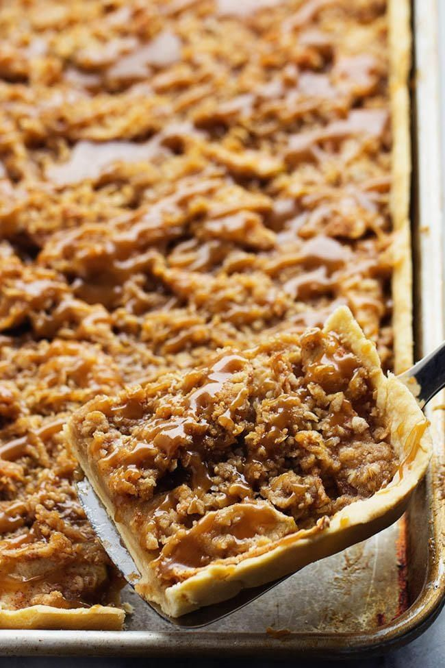 Caramel Apple Slab Pie | Your sheet pan really can do it all. Jelly roll pan, sheet pan, baking sheet–no matter what you call it, we consider it the most versatile tool in the kitchen. From easy one-dish dinners to classic Texas Sheet Cake to a batch of homemade chocolate chip cookies, you can break out those thin pans to bake almost anything. The good news is that we found your favorite new use for your sheet pan just in time for the holiday: slab pie recipes.