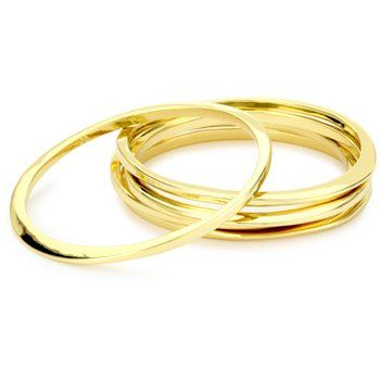 "Jules Smith ""Surf"" Inspired Bangle Bracelet Set in 14k Gold-Plated"