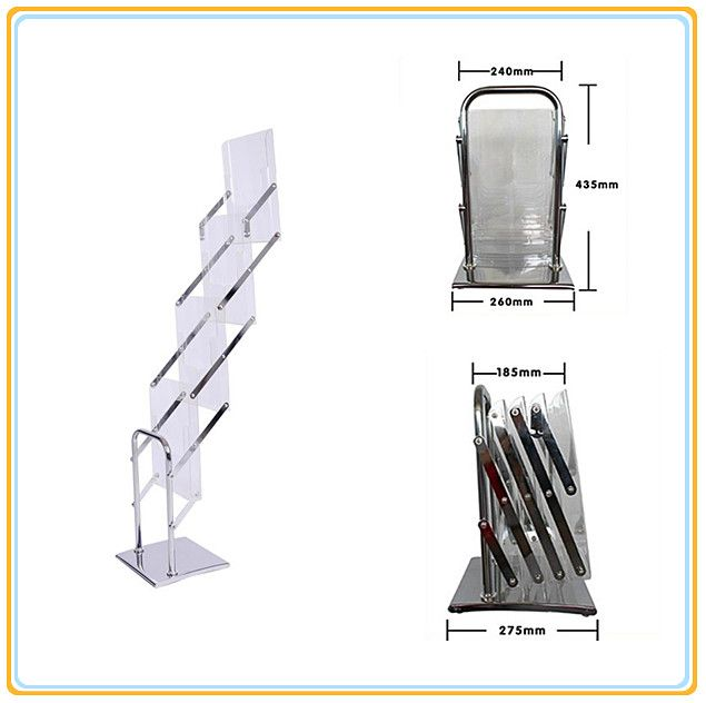 A4 Crystal Folding Magazine Material Stand/Acrylic Brochure Holders