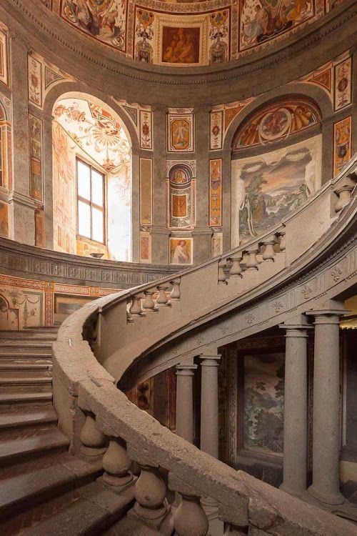 Inside Palazzo Farnese Of Caprarola Marble Stairs