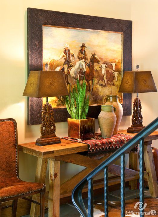 cowboy living room.  Rustic elegance describes this setting by Gary Riggs featuring John Richard Acanthus Leaf 592 best COWBOY D COR images on Pinterest Cowboy home decor