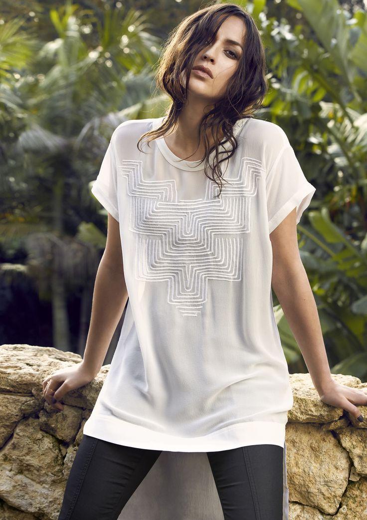 DANIELLA TUNIC - 2961BR Silk Embroidered Tunic