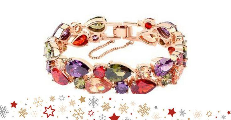 Pulseira com banho de ouro rosa de 18 quilates, decorada com Zircónias Swarovski de várias cores. Made with Swarovski elements. 16x1,5 cms. Enviado numa elegante caixa de jóias, com saco e garantia (2 anos).