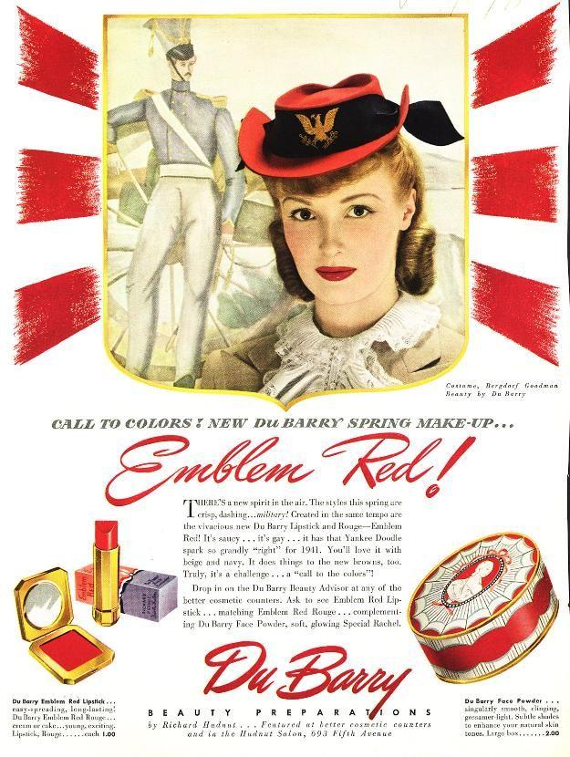 Emblem Red - Dubarry lipstick 1941: Beautiful Makeupartist, Dubarry Lipsticks, Richard Hudnut, Ads Beautiful, Vintage Ads, 1941 Richard, Beautiful Vintage, Emblem Red, Ads 1941