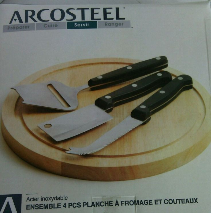 "Arcosteel Cheese Board & Knives Set Wood 9"" Inch 4 Piece Cutting Tools Kitchen   