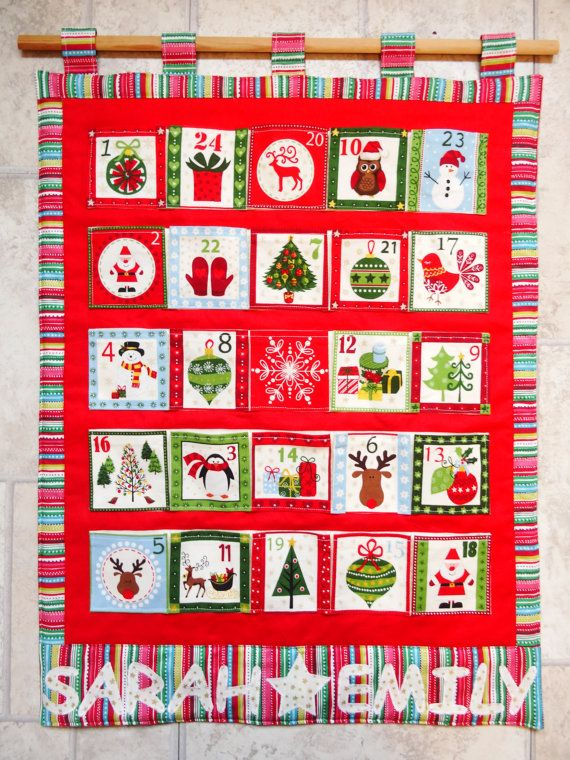 Gorgeous handmade and personalised Christmas advent calendar, lovingly sewn and ready to fill with sweets and small gifts during the countdown to