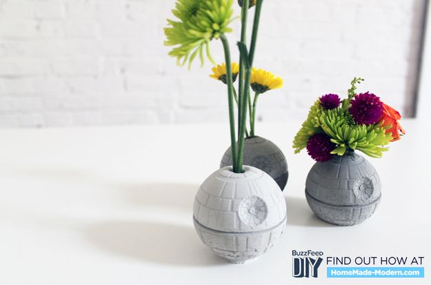 The Death Star Vase + Stormtrooper Wall Hooks | 7 DIY Concrete Projects You Can Make With One $5 Bag Of Concrete Mix