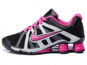 Dame Nike Shox Turbo+ 12 Svart Rosa Løping Trainers Hot salg online