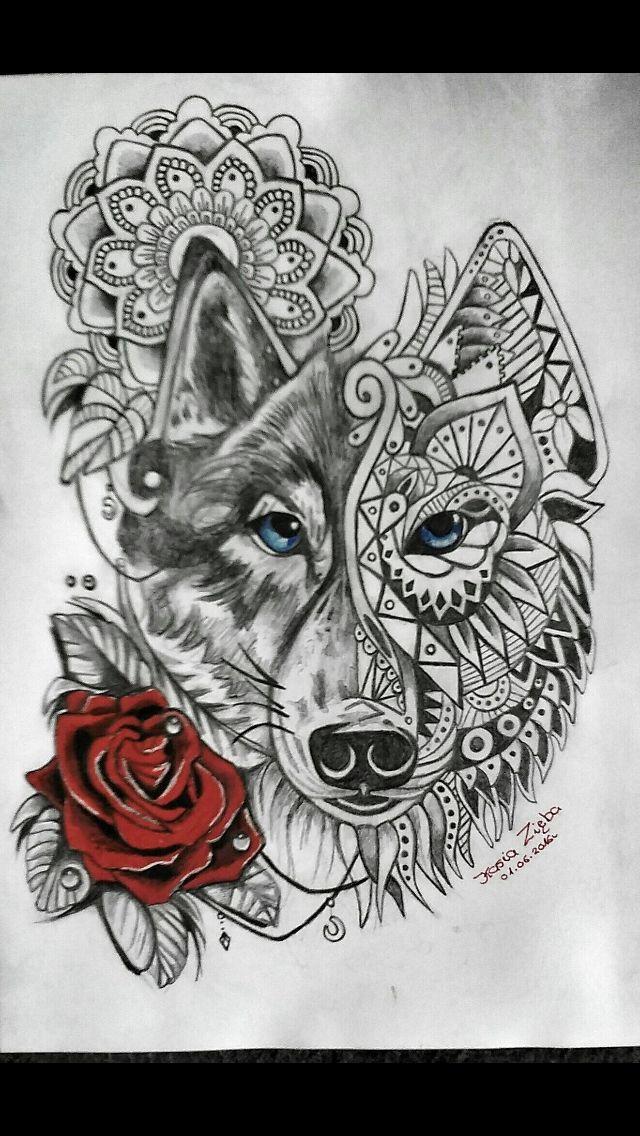 Mandala wolf rose tattoo More