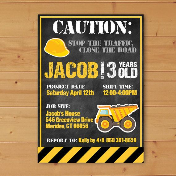 the 25+ best construction birthday invitations ideas on pinterest, Birthday invitations