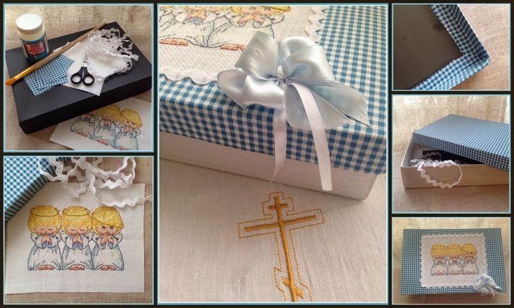Box, decorated with fabric and cross stitch.