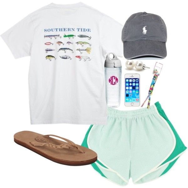 Southern Tide tee, Lauren James shorties, camelbak, rainbows.