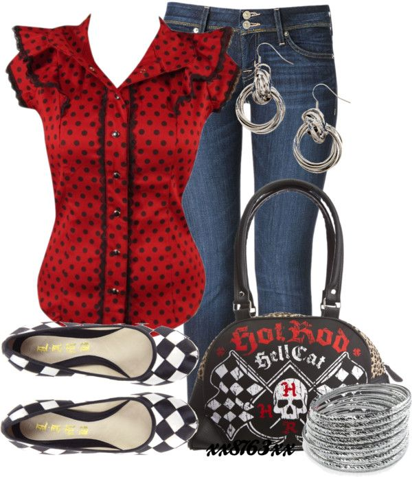 """Rock-a-Billy Checks and Spots"" by xx8763xx ❤ liked on Polyvore"
