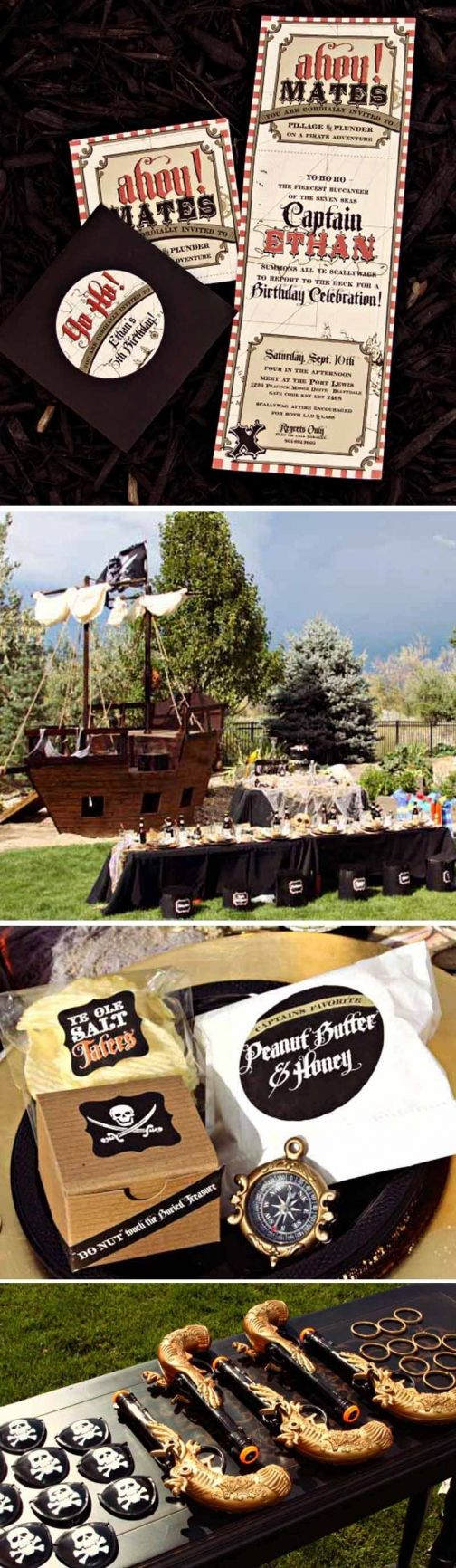 Love this Pirate Party details....especially the table scape and invites!