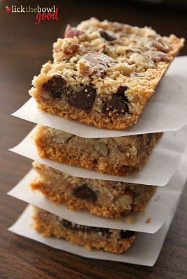 Derby Pie Bars: Crust - 2 cups graham cracker crumbs, 1/2 cup (1 stick) butter, melted, Filling: 1 cup granulated sugar,  1/2 cup (1 stick) butter, melted and cooled, 2 large eggs, 1 tsp vanilla,  3-4 Tbsp Bourbon, optional, 1/2 cup all purpose flour, 1 cup chopped pecans,  1 cup semi-sweet chocolate chips,  Preheat the oven to 325 degrees F. Butter a 9x13-inch baking dish (or use non-stick cooking spray).  Bake 33-38 min.