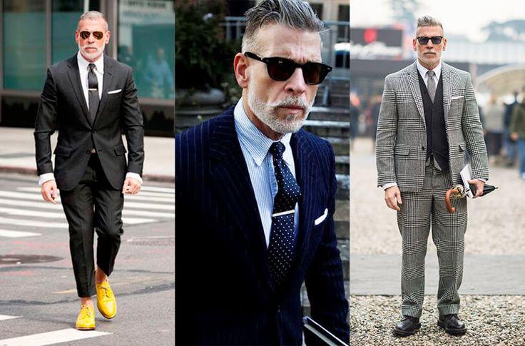 En la imagen aparece Nick wooster vistiendo distintos looks en algodón usando trajes de saco y corbata