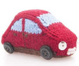 Free Knitting Pattern for Miniature Car Toy - Approximately 3cm/1 1/4 in high, 8cm/3 in long, 4cm/1 1/2 in deep. Designed for The Yarn Loop.