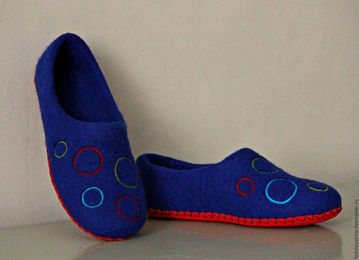 """Купить Тапочки """"Круги на воде"""". - тёмно-синий, синий, тапки, замша натуральная, тапочки"""