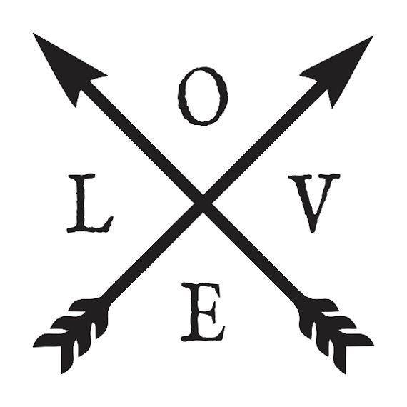 Inspirational STENCIL LOVE with crossed arrows by OaklandStencil