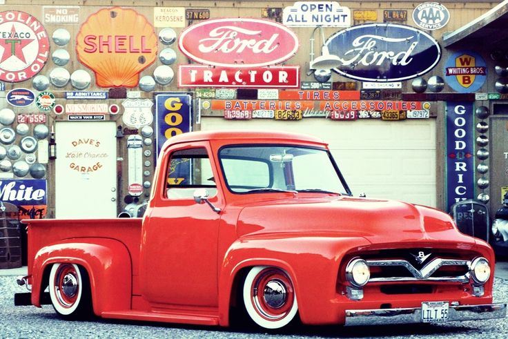 """A (very, very slammed) Ford F-100 pickup. In my opinion (notice that I didn't say """"humble""""), the 1953 t0 1956 Ford F-100 is most beautifully styled pickup ever made anywhere by anyone. Besides, why would you ever want to drive anything other than a Ford truck?"""