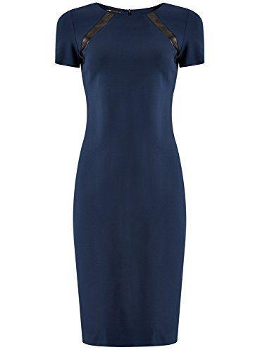 a3b9bf53d78d oodji Collection Femme Robe Maille Détails en Simili Cuir Bleu FR 46   XXL
