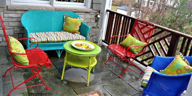 bright colored resin wicker furniture - Google Search