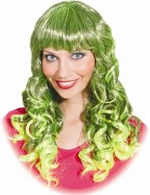 Karnevalswierts.com - Toebehoren - - Pruik Casandra neon groen/zwart