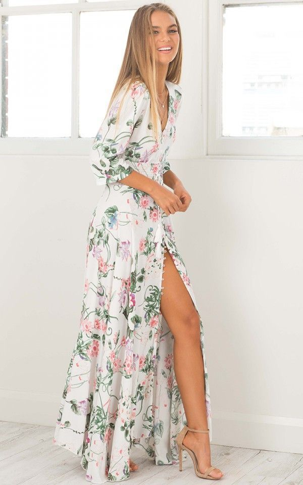 Lone Traveller maxi dress in white floral