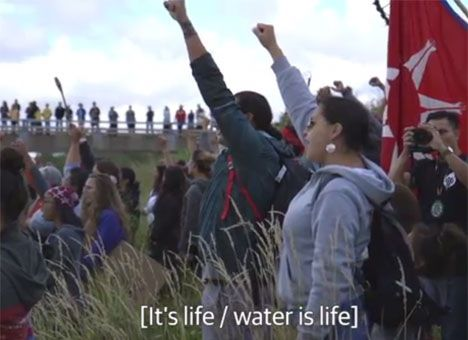 Still from video;  http://www.earth-matters.nl/11/13038/verborgen-nieuws/the-dakota-pipeline-the-human-right-to-water-at-standing-rock.html
