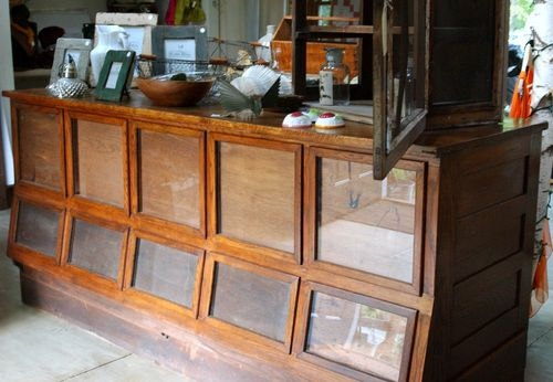 Antique Industrial Country Store Grain Counter Cabinet