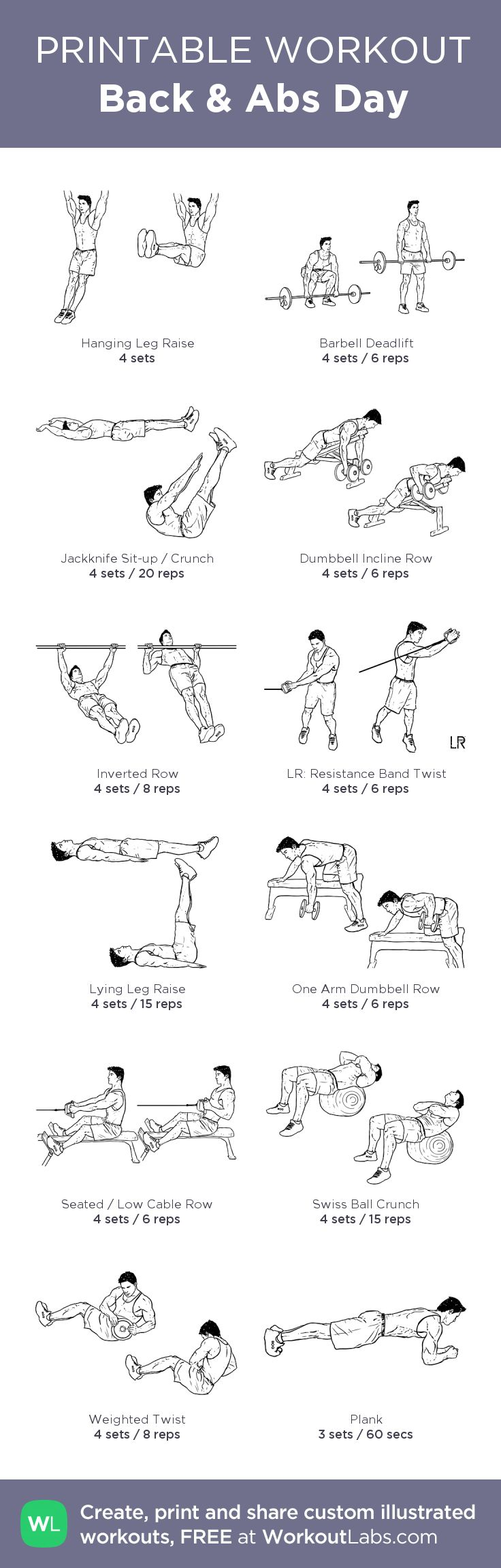 Back & Abs Day: my custom printable workout by @WorkoutLabs #workoutlabs #customworkout