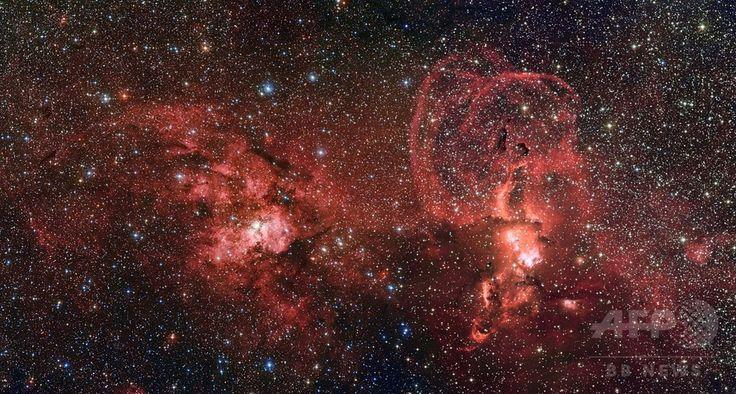 欧州南天天文台(European Southern Observatory、ESO)のMPG/ESO2.2m望遠鏡が捉えた、天の川銀河(Milky Way)の2つの星形成領域(2014年8月18日提供)。(c)AFP/EUROPEAN SOUTHERN OBSERVATORY/G. Beccari ▼28Aug2014AFP|天の川銀河の星形成領域、ESOが画像公開 http://www.afpbb.com/articles/-/3024048