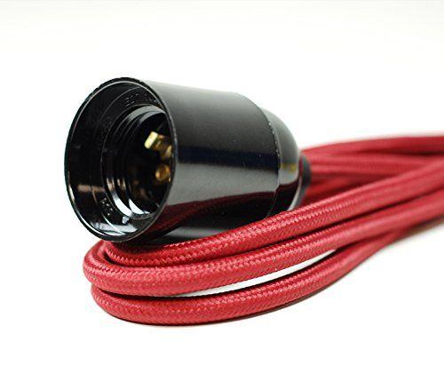 Rot & Schwarz Hahnentritt Stoff Kabel Deckenleuchte Anhänger | mit Bakelit Lampenfassungen | E27ES Schraube