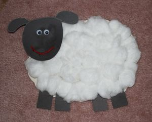 Cotton Ball Sheep: After the children bottle fed the lambs, it would be fun to make a sheep using cotton balls for the children to take home. A model would not be shown to the children so that they would use their imaginations to create the head, body, legs, and tail. It is DAP.